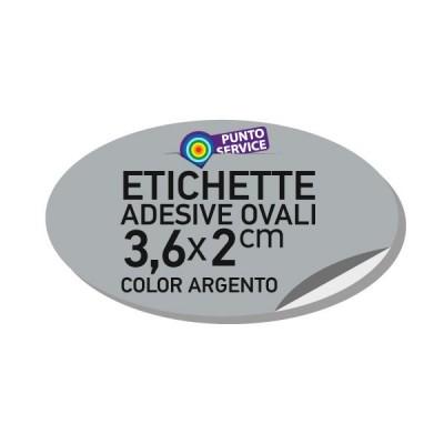 Etichette adesive argento 3,6x2