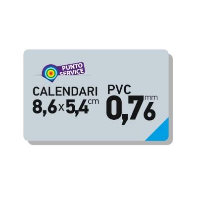 Calendari tascabili 86x54mm su card PVC 0,76mm